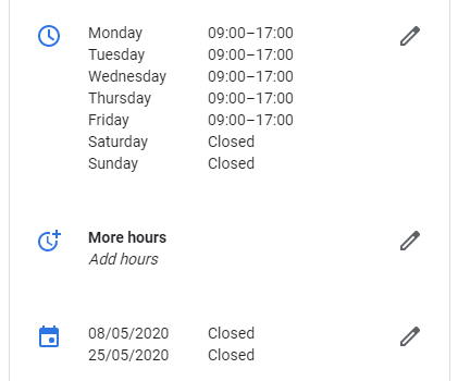 Opening hours settings in GMB
