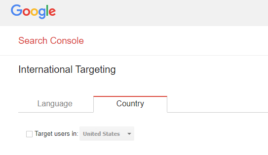 target country field in google search console