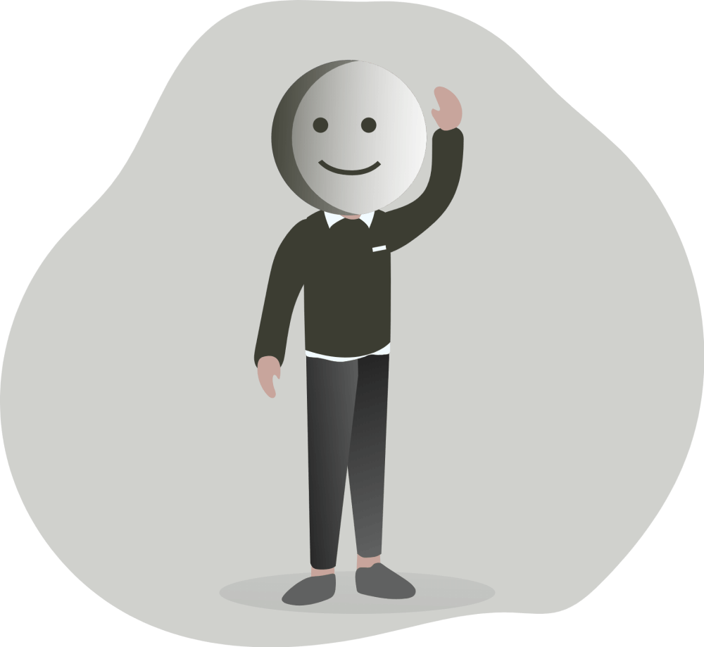 man with smiley emoji face