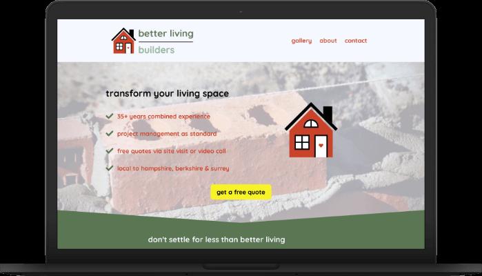 better living builders website screengrab